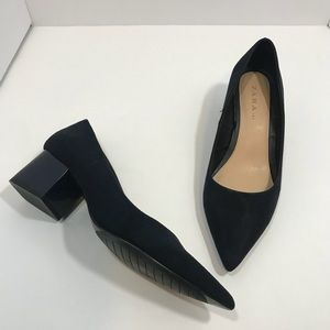 Zara TRF navy blue block heel point toe Sz 38
